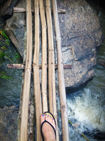 Chiang Mai | Thailand Thailand Travel Travel Photography Traveling Wanderlust Adventure Bridge Close-up Day Explore Human Body Part Human Leg Low Section Nature One Person Outdoors People Real People Standing Thailand_allshots Thailandtravel Travel Destinations Water Wodden Footbridge