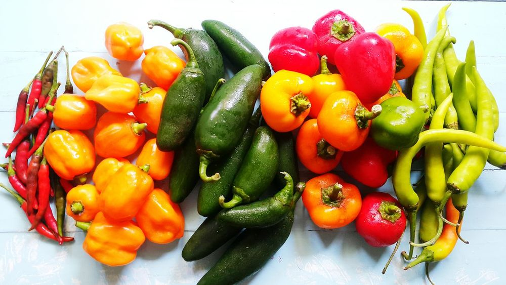 EyeEm Selects Freshness Food Vegetable Multi Colored Close-up Chillies Collection Jalapeno Peppers Habanero Peppers Bell Peppers Neon Life