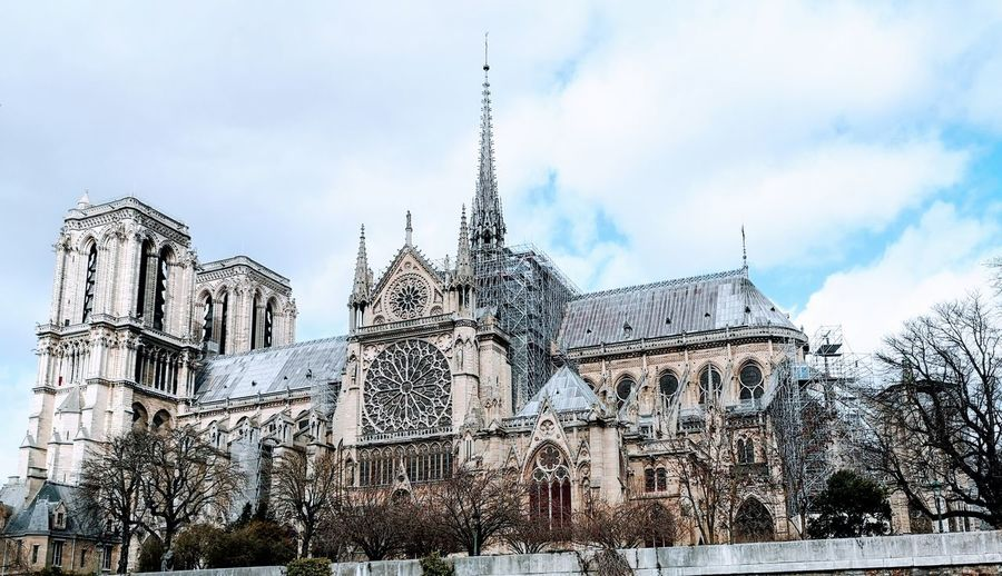 A Real Tragedy Today In Paris One Month Ago. Notre Dame De Paris ❤❤❤❤❤ Cathedral City Sky Architecture Building Exterior Cloud - Sky Built Structure Place Of Worship Church Catholicism Religion Spirituality