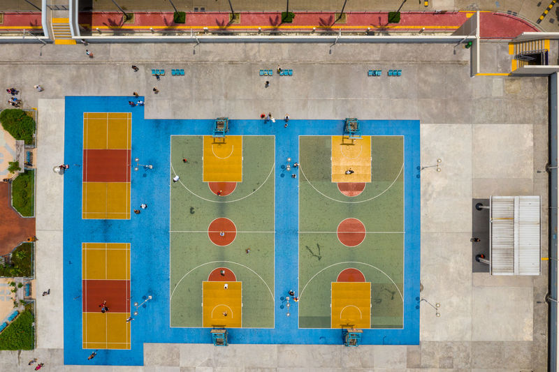 Directly above shot of sports court in city