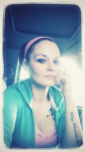 Hmmm thinking about how much i hate waiting on my hubby and showing off my new tats?