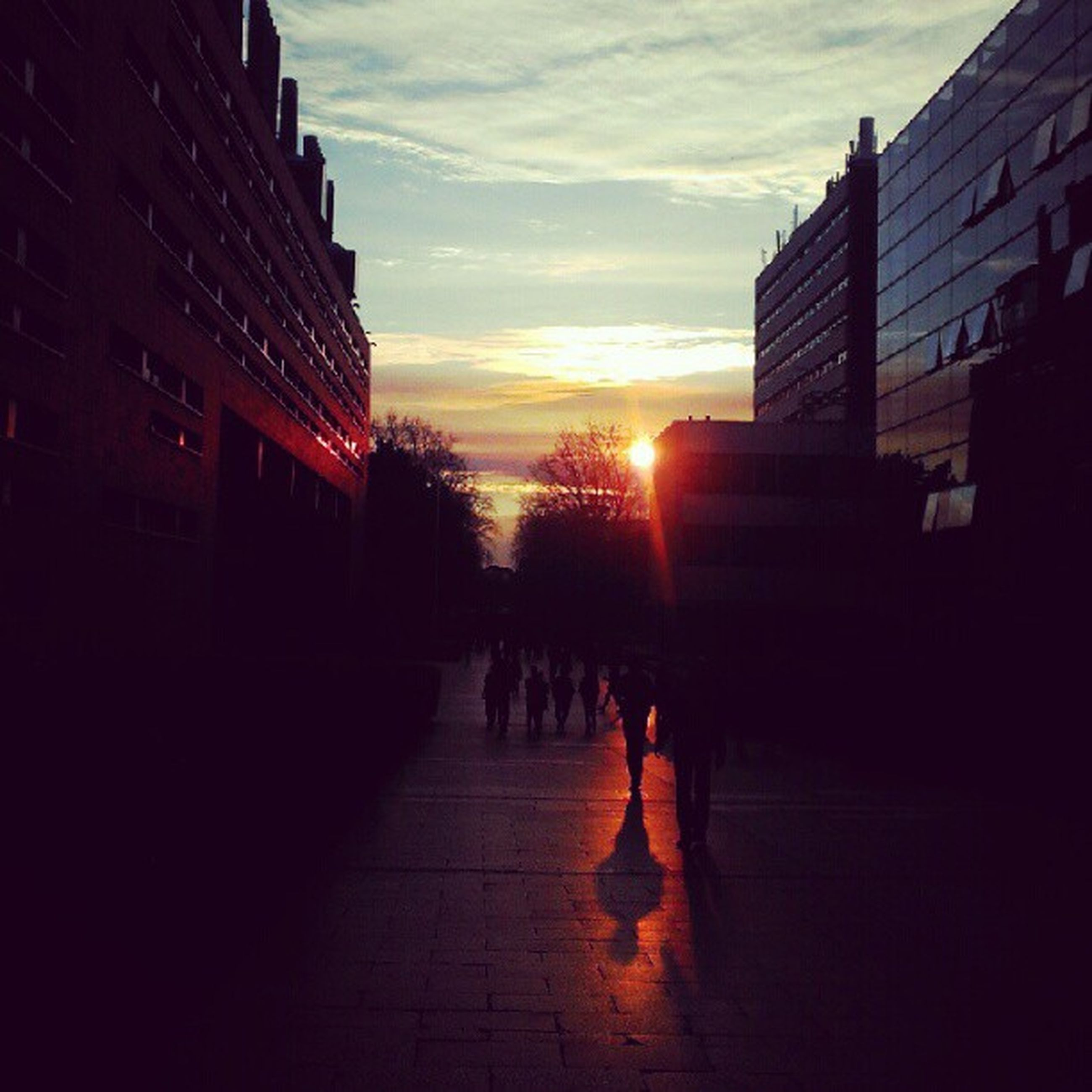 sunset, architecture, building exterior, built structure, sun, orange color, sky, city, sunlight, lifestyles, men, silhouette, walking, person, city life, cloud - sky, street, sunbeam, reflection