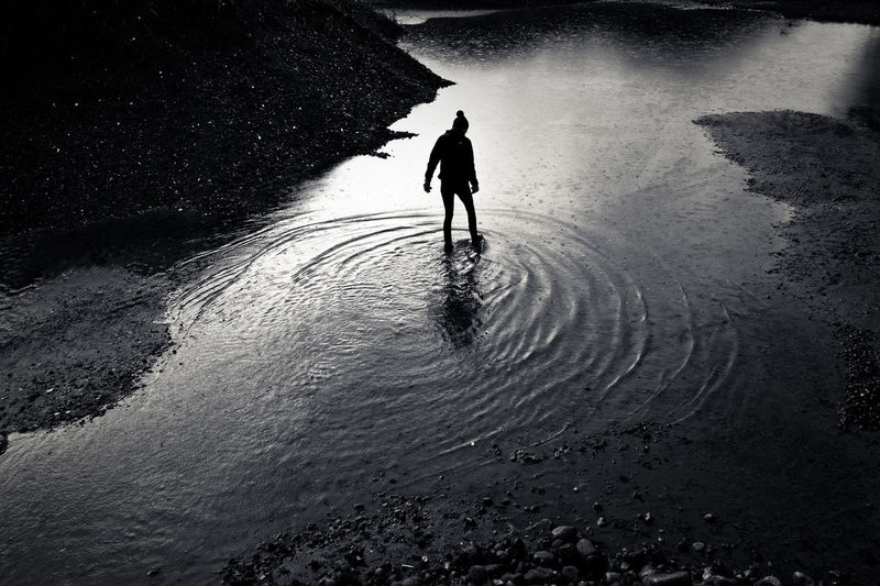 Person walking on river