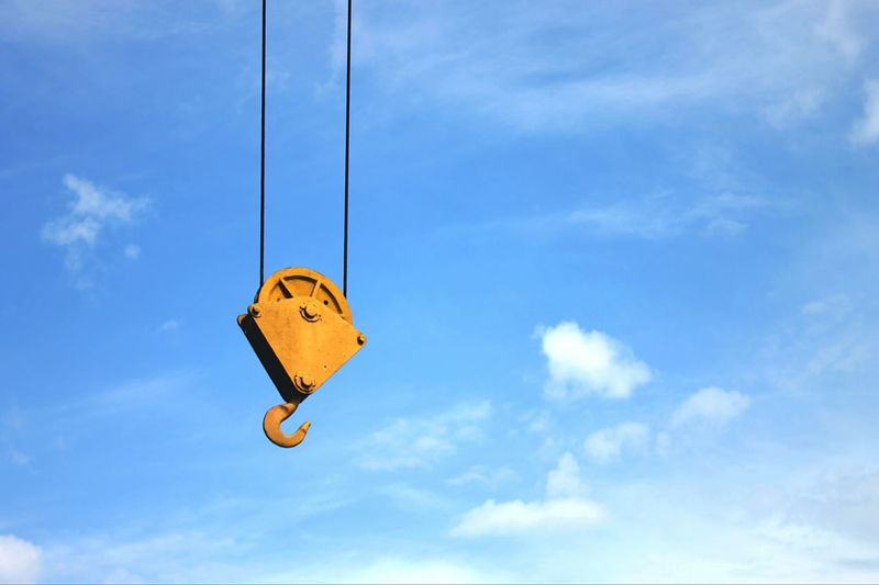 Hanging Sky Cloud - Sky Overhead Cable Car Yellow Low Angle View Outdoors Day No People