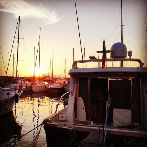 Sunset and the boats at Lavagna Italy