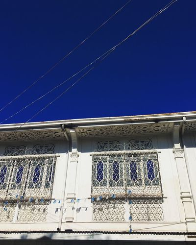 Low Angle View Architecture Built Structure Blue Building Exterior No People Window Outdoors Day Clear Sky Sky