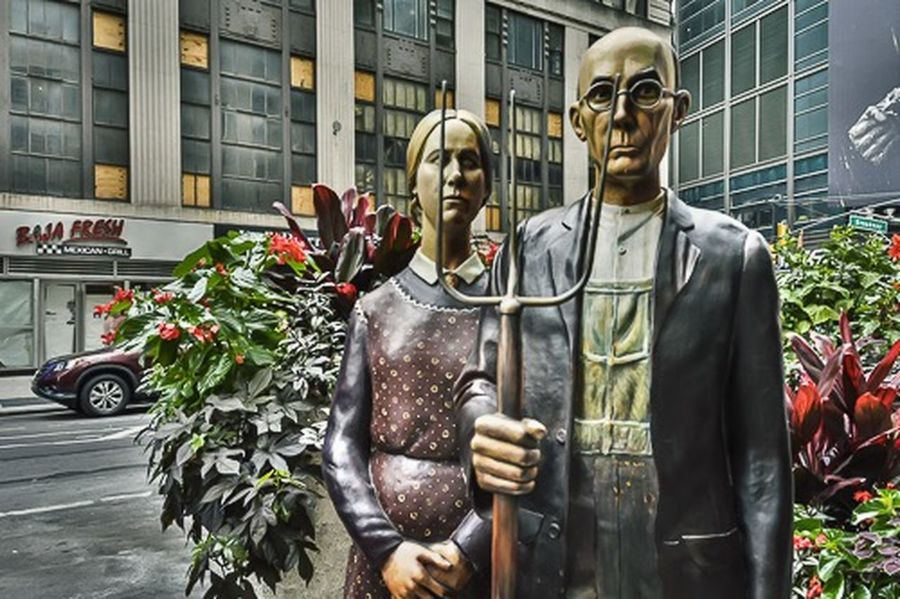American Gothic PPROPRIATION ] PAINTING sculpture Garmet District TimesSquare Urban Life UrbanART Urban Lifestyle
