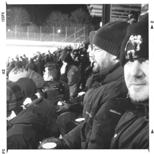 Wintertime Football Fans AIK Passion.Stockholm Skytteholms ip -15C 1830 First training game of the year Aik-Väsby 5-2. frezing ny but of.....