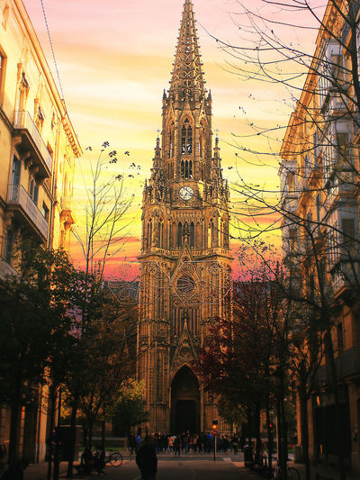 Cathedral Donosti  Donostia / San Sebastián SPAIN San Sebastian Spain Architecture Building Exterior Built Structure City Clock Clock Tower Day Place Of Worship Religion Sky Sunset Travel Travel Destinations