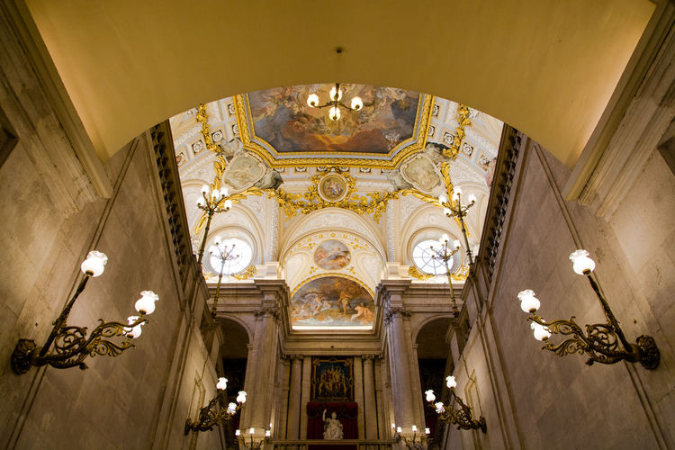 Low angle view of ceiling in royal palace of madrid