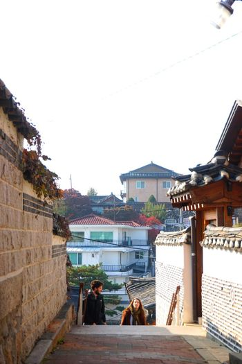 Couple Hanok Village Fall Season Seoul, Korea