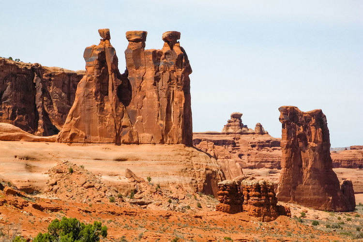 Rock formation against clear sky at arches national park