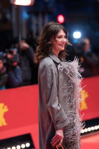 German actress Iris Berben poses on the red carpet before the awards ceremony of the 68th edition of the Berlinale film festival 2018 68th Berlinale Award Ceremony Famous Film Festival Golden Bear Actress Arts Culture And Entertainment Beautiful Woman Berlinale Berlinale 2018 Berlinale Festival Berlinale2018 Berlinale68 Entertainment Entertainment Event Film Festivals Focus On Foreground German Actress Glamour Iris Berben One Person Red Carpet Red Carpet Event Three Quarter Length Women