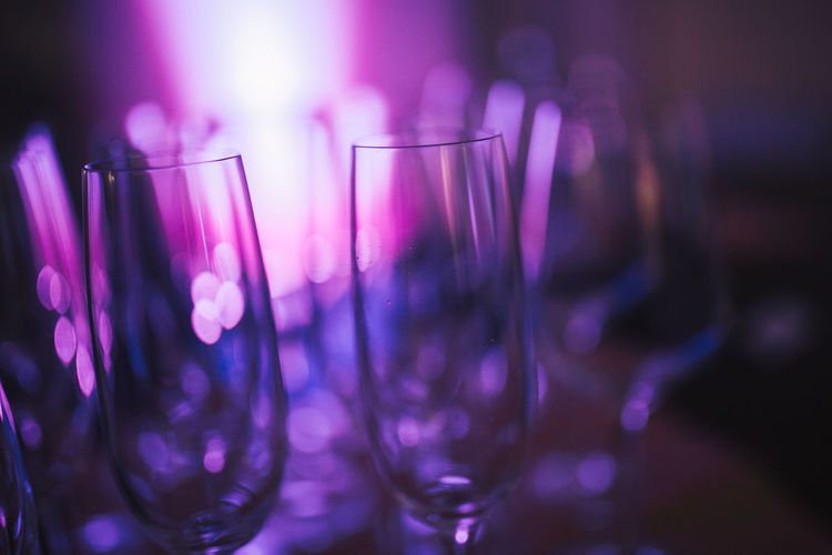 Champagne Champagne Glasses Sektglas Celebration Close-up Drinking Glass Focus On Foreground Illuminated Indoors  Night Nightclub Nightlife No People Party - Social Event Pink Color Purple Purple Tones Sekt Sektgläser