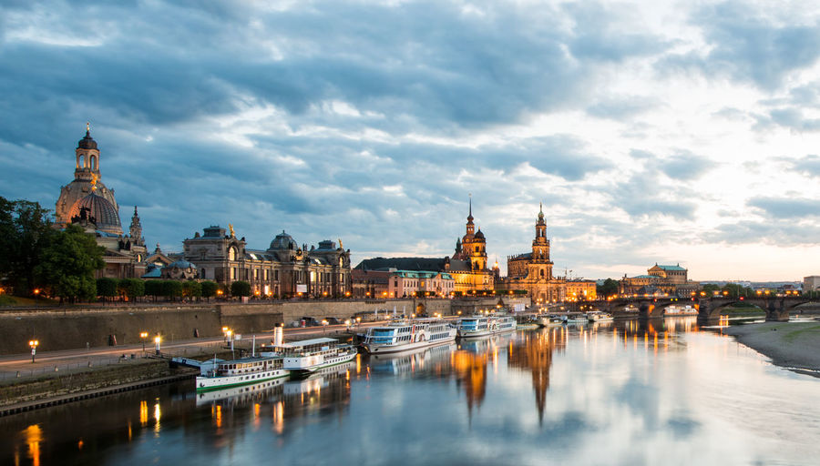 High Angle View Of Boats Moored On River By Dresden Frauenkirche