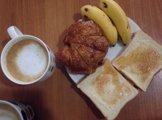 Morning coffee with croissant and toasted bread honey Food And Drink Food Table Indoors  Freshness Close-up Fruit No People Ready-to-eat Day Coffee Time Breakfast Bread Toasted Bread Honeys Croissant
