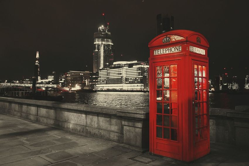Telephone Booth London Telephone Booth Pay Phone Red Cultures City Travel Destinations Night Connection Tourism No People Outdoors Thames River Side River Thames Bank