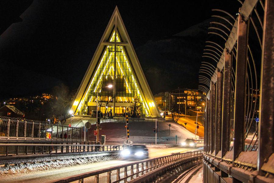 Beidge Church Night Norway Outdoors Sky Tranquility Transportation Tromsø Yellow