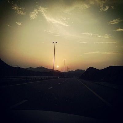 Sunset Colors Roads Travel Dubai to Fujairah .. Instanice Instagood