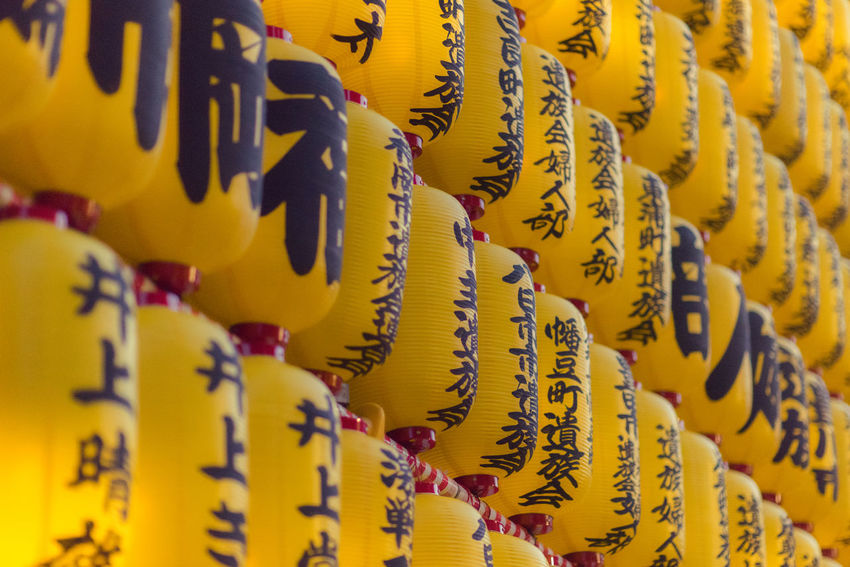 The famous yellow lanterns at the Mitama Matsuri festival in summer at the shinto shrine Yasukuni Jinja in Tokyo. Japan Japanese Culture Japanese Style Lanterns Mitama Matsuri Shinto Shrine Tokyo Traditional Culture Yasukuni Shrine Celebration Chinese Lantern Close-up Culture And Tradition Decoration Festival Full Frame In A Row Lantern Large Group Of Objects No People Non-western Script Script Selective Focus Text Yellow