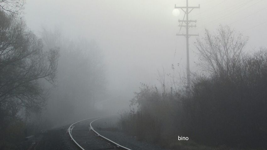 Out Walking Early Morning My Neighborhood Through The Fog Along The Tracks Sun Trying To Break Through The Clouds Cadillac Michigan