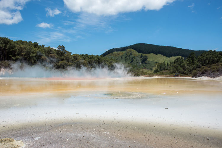 Rotorua,North Island/New Zealand-December 16, 2016: Turquoise Champagne Pool at Wai-o-tapu geothermal area with lush forest growth in Rotorua, New Zealand Hot Rotorua  Tourist Attraction  Beauty In Nature Champagne Pool Environment Forest Geology Geyser Greenery Heat - Temperature Hot Spring Lagoon Majestic Mountain Nature New Zealand Outdoors Pool Power In Nature Scenics - Nature Sky Steam Volcanic Landscape Water