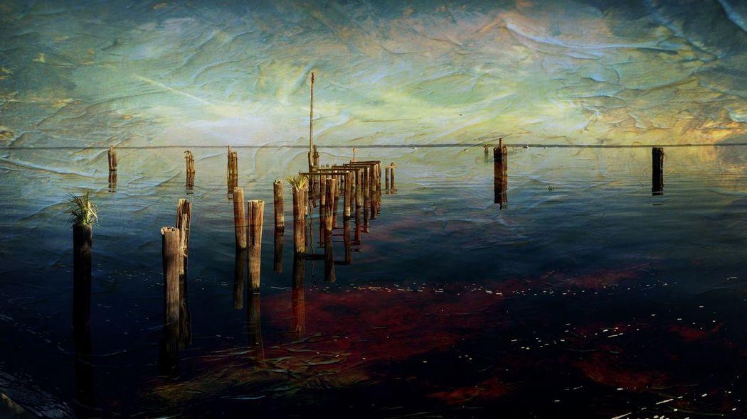 Lake Monroe IPhoneography DistressedFX Lake Sanford Florida Panorama