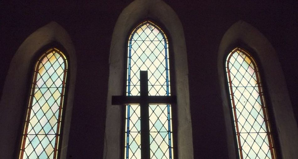 Temple Cathlic Church Cross Staind Glass Window Perth. This Is Me In A Moment Of Prayer Hmmm.