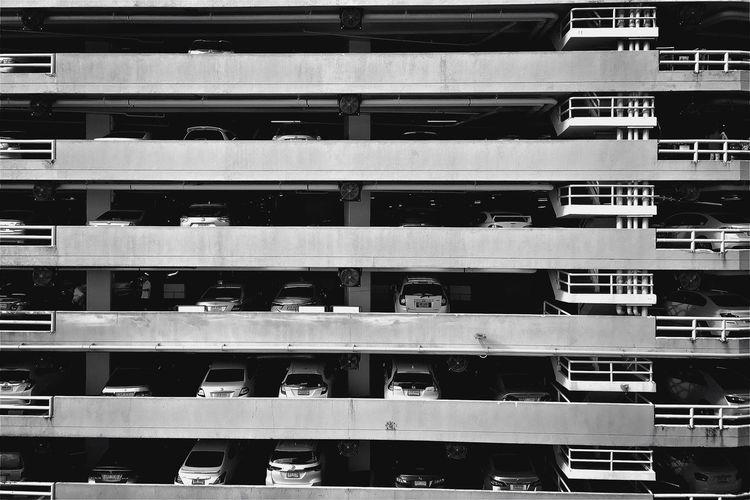 Level Layers Parking Cars Building Stripe Blackandwhite B&w