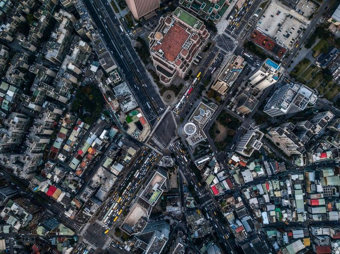 Aerial view of city street