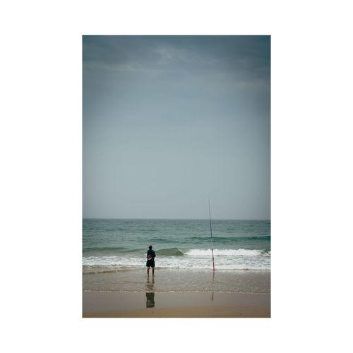 Water Sea Beach Full Length Silhouette Sky Horizon Over Water