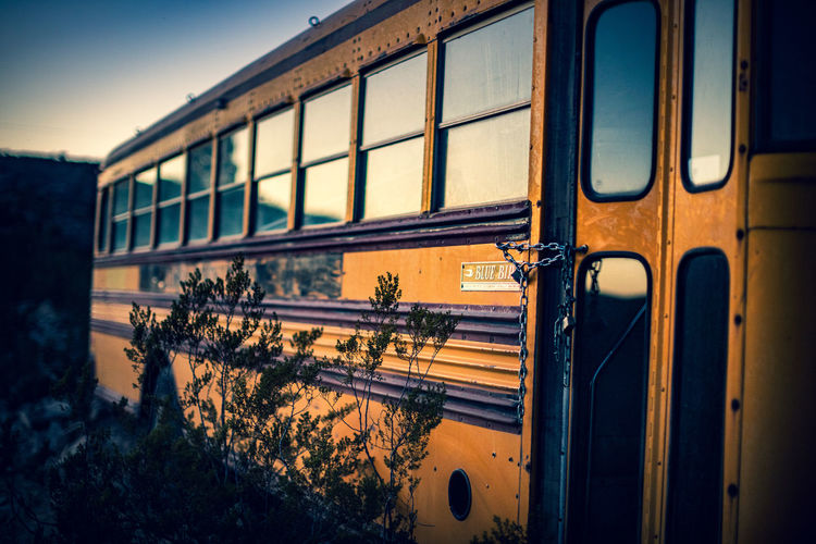 Train by window against sky