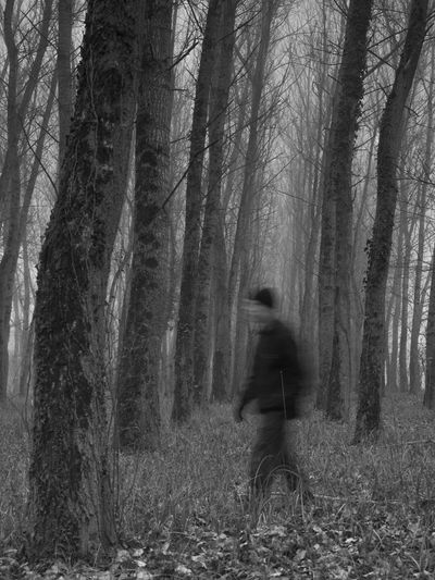 X-mas story. Man from the woods Axe B&w Blured Bluren Man Blurred Motion Blurred Visions Creepy Fog Foggy Forest Forest Photography Forest Trees Man In Forest Man In Forrest Man With Axe People Scary Trees