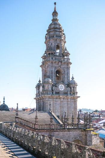 Santiago de compostela cathedral against sky in city