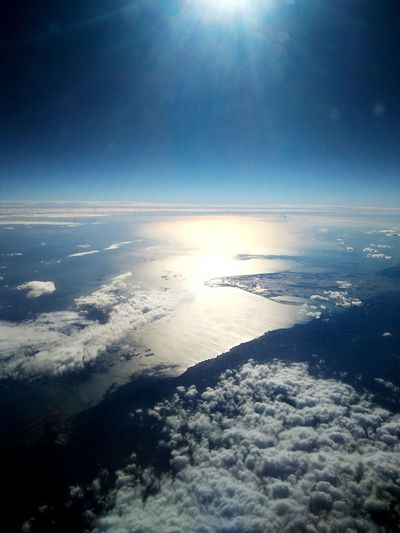 Astronomy Sea Water Blue Beach Business Finance And Industry Aerial View Sky Horizon Over Water Shining