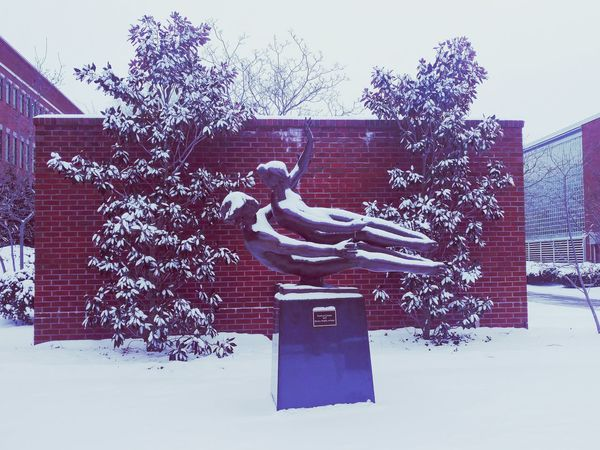 Outdoors Day Snow Cold Temperature Sky Winter Snow Fall Snow Day Statue Dance Couple Duet Love Romantic Still Life Great Outdoors Red Bricks Wall Wallpaper White Landmark Plant Shades Of Winter