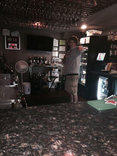 My boy Chris running the bar at work. Friends