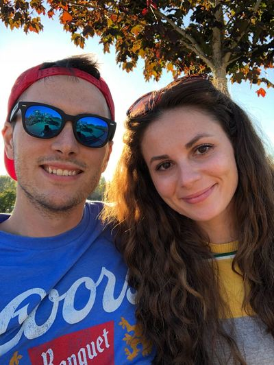 Portrait Smiling Looking At Camera Young Adult Two People Happiness Front View
