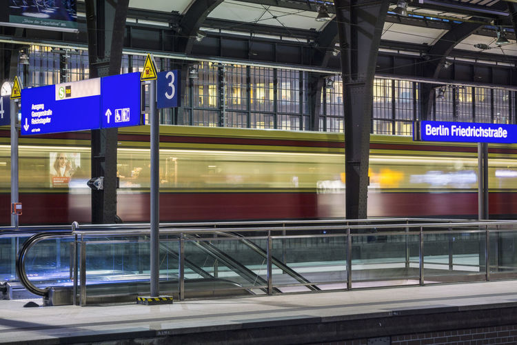 S-Bahn train departing from Friedrichstrasse station Berlin Friedrichstrasse Station Germany 🇩🇪 Deutschland Horizontal S-bahn Twilight Architecture Blurred Motion City Day Illuminated Indoors  Mode Of Transport Motion Night No People Public Transportation Speed Train - Vehicle Transportation Travel