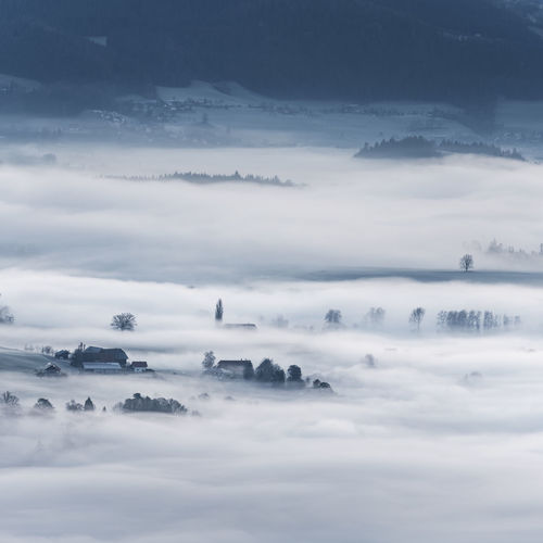 Cloud - Sky Sky Scenics - Nature Beauty In Nature Tranquility Tranquil Scene No People Nature Fog Idyllic Environment Day Outdoors Cloudscape Non-urban Scene Mountain Landscape Dramatic Sky Softness Hazy  Switzerland Rural Scene