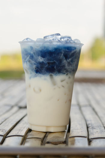 iced Butterfly pea Latte Close-up Day Drink Drinking Glass Food Food And Drink Freshness Iced Butterfly Pea Latte No People Outdoors Refreshment