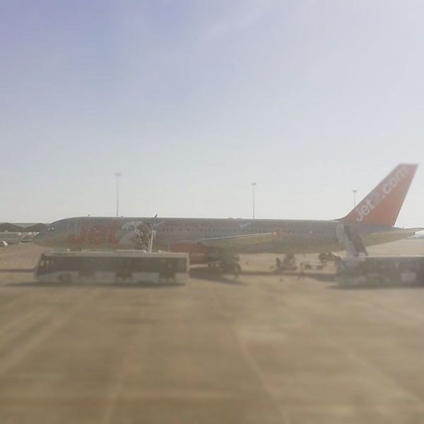 Sat on the tarmac at Paphos Airport waiting to fly home. Looking at lucky people arriving in Cyprus. Jet2 Aircraft Plane Airport Tarmac Arrivals Bus Paphos Cyprus @jet2pics