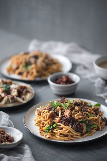 Home cook dinner Noodles Food Food And Drink Healthy Eating Ready-to-eat Plate Freshness Meal Wellbeing No People Vegetable Focus On Foreground Indoors  Still Life Table Savory Food Serving Size Italian Food Meat Bowl Green
