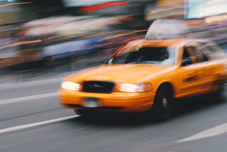 Moving cab, New York Blurred Motion City Day Land Vehicle Mode Of Transport Motion No People Outdoors Road Speed Street Taxi Transportation Urgency Yellow Taxi