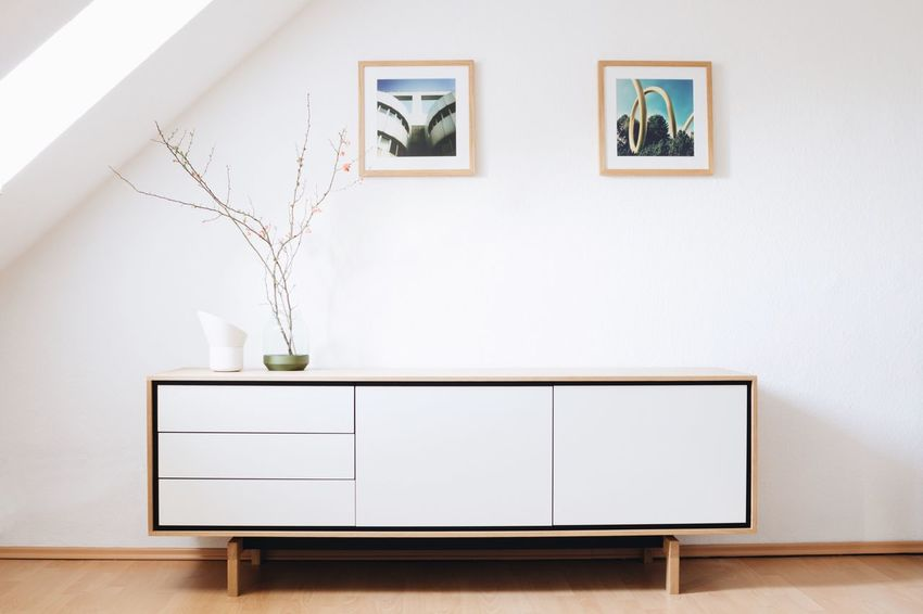 Interior Views Interior Design Furniture Design Living Room Design Clean Interior Eyeem Market Copy Space Negative Space Modern Modern Interior Modern Design Sideboard Oak Framed Images Images Lamp Vase Quince Flowers EyeEm Best Shots EyeEm Best Shots - Architecture Home Is Where The Art Is