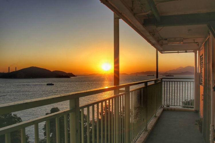 Wah Fu Estate Hong Kong Water Cityscape Sea Sunset Bridge - Man Made Structure Multi Colored Beach Sun Railing Sunlight