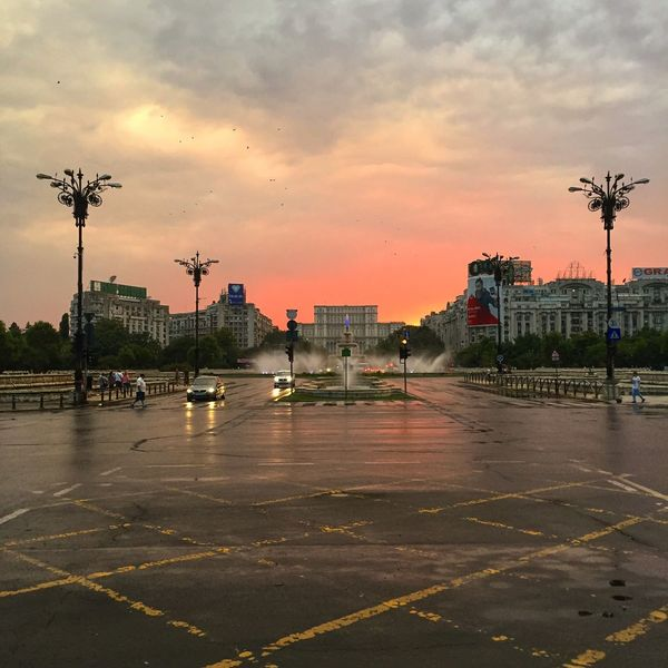 Bucharest Bucureşti Romania Sunset_collection Architecture Building Exterior Built Structure Car Casa Poporului City Cloud - Sky Day Land Vehicle Nature No People Outdoors Parliament Road Sky Sunset Transportation Tree