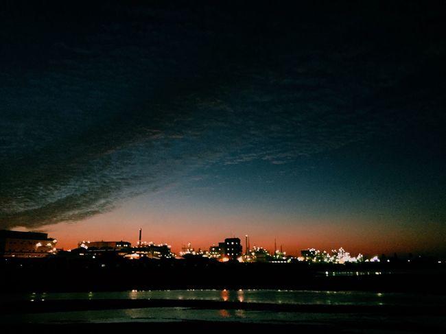 工場夜景 夕凪