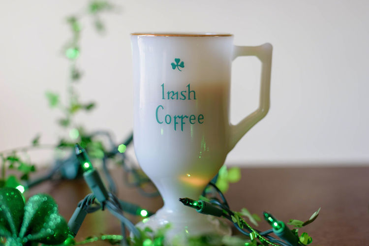 Enjoying Irish coffee in a vintage milk glass mug on St. Patrick's Day! Beverage Coffee Green Happy St. Patricks Day Irish Coffee Milk Glass Morning St. Paddy's St. Patrick's Day Close-up Cup Day Drink Indoors  Irish Mug Text Vintage