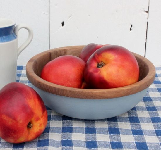 Hand turned bowl with milk paint finish from Made in the Vale, Dorset. Blue And White Country Style Day Dining Table Dorset Crafts Food French Style Fruit Healthy Eating Milk Paint Nectarine Nectarines No People Shabby Chic Wood Bridge Wooden Bowl